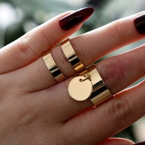 Jewelry - 2-piece Reflective Minimalist Gold Coin Ring Set